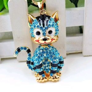Betsey Johnson Blue Crystal Cat Pendant Necklace